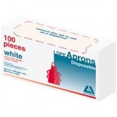 Apron, disposable,white, pkt/100